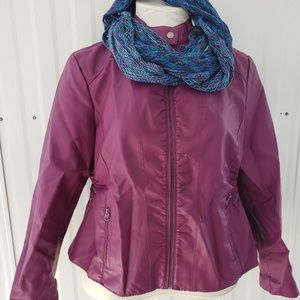 Baccini Faux Plum Leather Jacket and Scarf XL